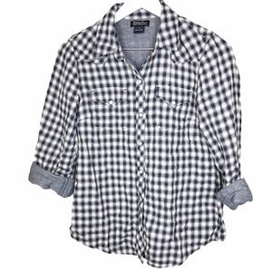 Lucky Brand Plaid Chambray Denim Pearl Snap Button
